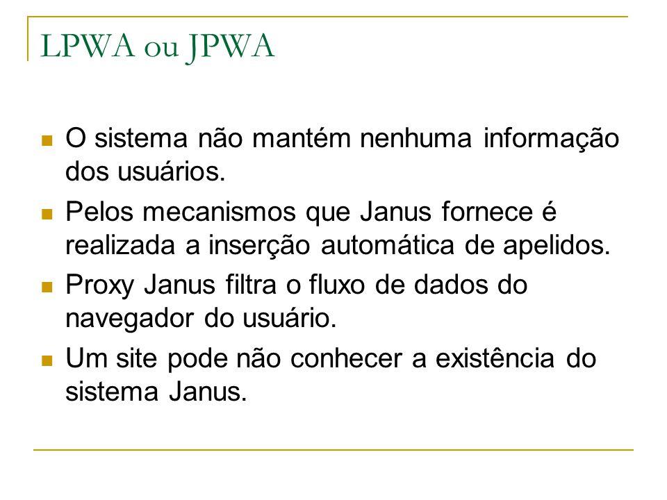 LPWA ou JPWA O sistema não mantém nenhuma informação dos usuários.