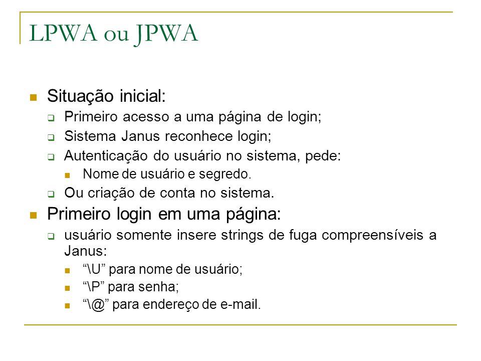 LPWA ou JPWA Situação inicial: Primeiro acesso a uma página de login; Sistema Janus reconhece login; Autenticação do usuário no sistema, pede: Nome de usuário e segredo.