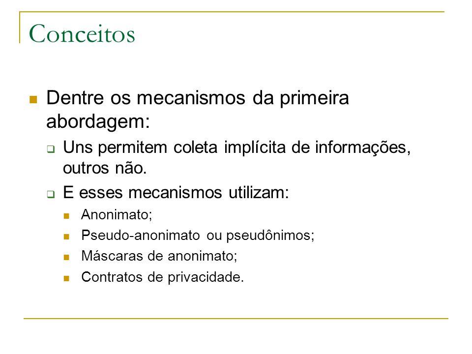 Conceitos Dentre os mecanismos da primeira abordagem: Uns permitem coleta implícita de informações, outros não.