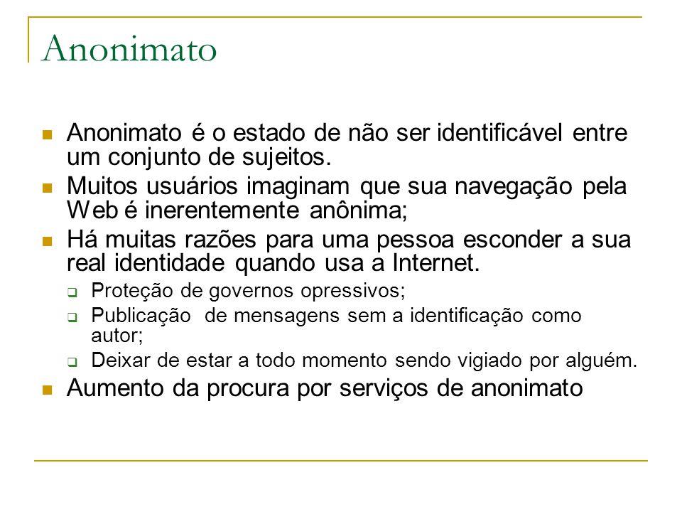 Anonimato Anonimato é o estado de não ser identificável entre um conjunto de sujeitos.