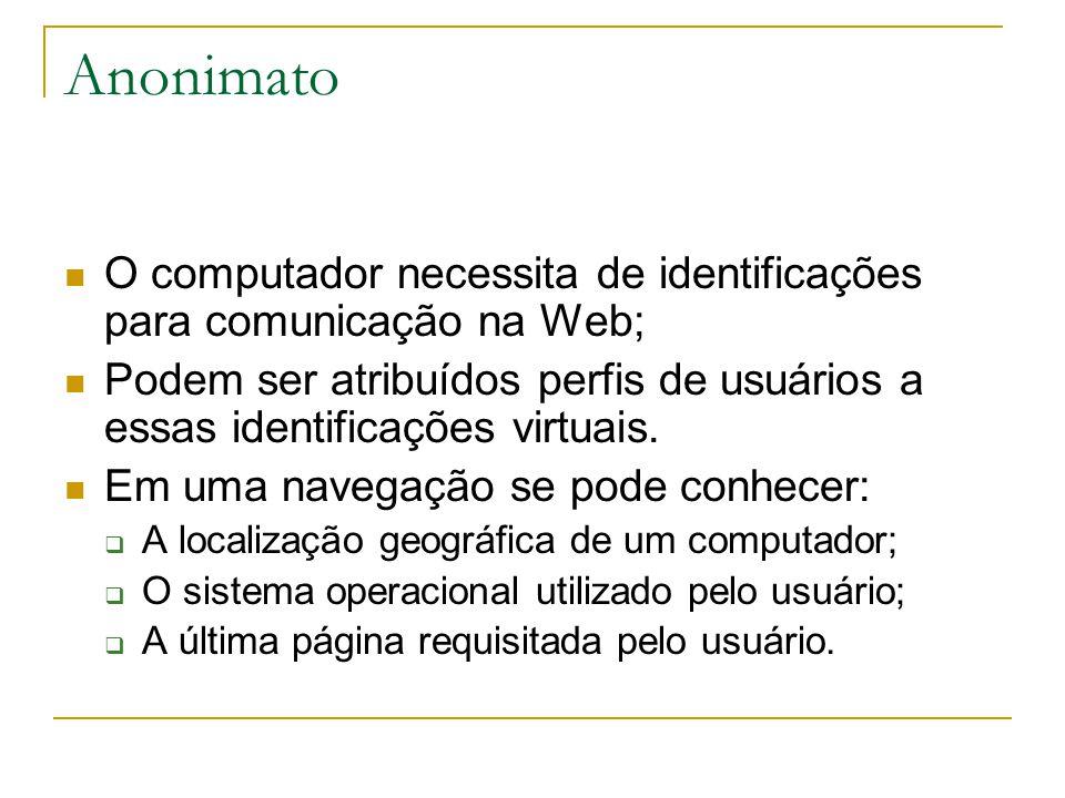 Anonimato O computador necessita de identificações para comunicação na Web; Podem ser atribuídos perfis de usuários a essas identificações virtuais.