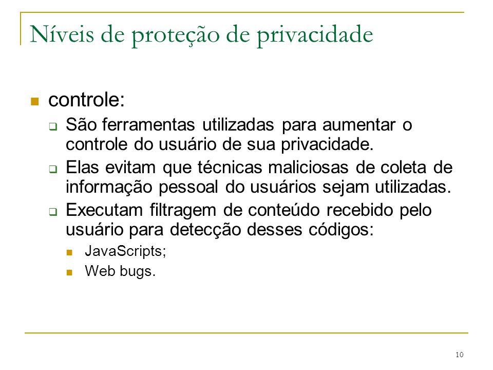 10 Níveis de proteção de privacidade controle: São ferramentas utilizadas para aumentar o controle do usuário de sua privacidade. Elas evitam que técn