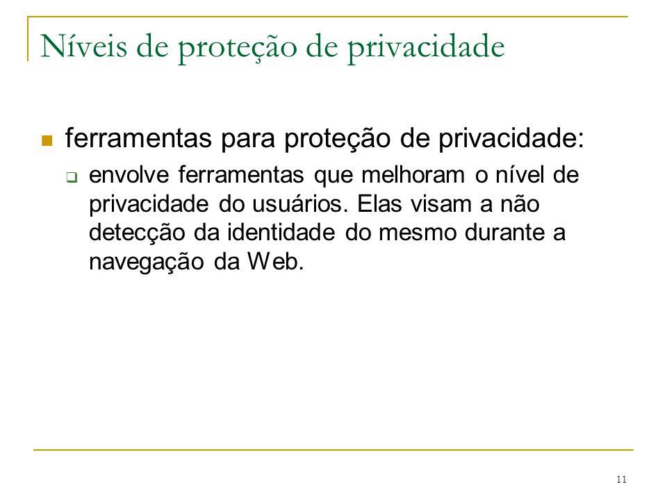 11 Níveis de proteção de privacidade ferramentas para proteção de privacidade: envolve ferramentas que melhoram o nível de privacidade do usuários. El