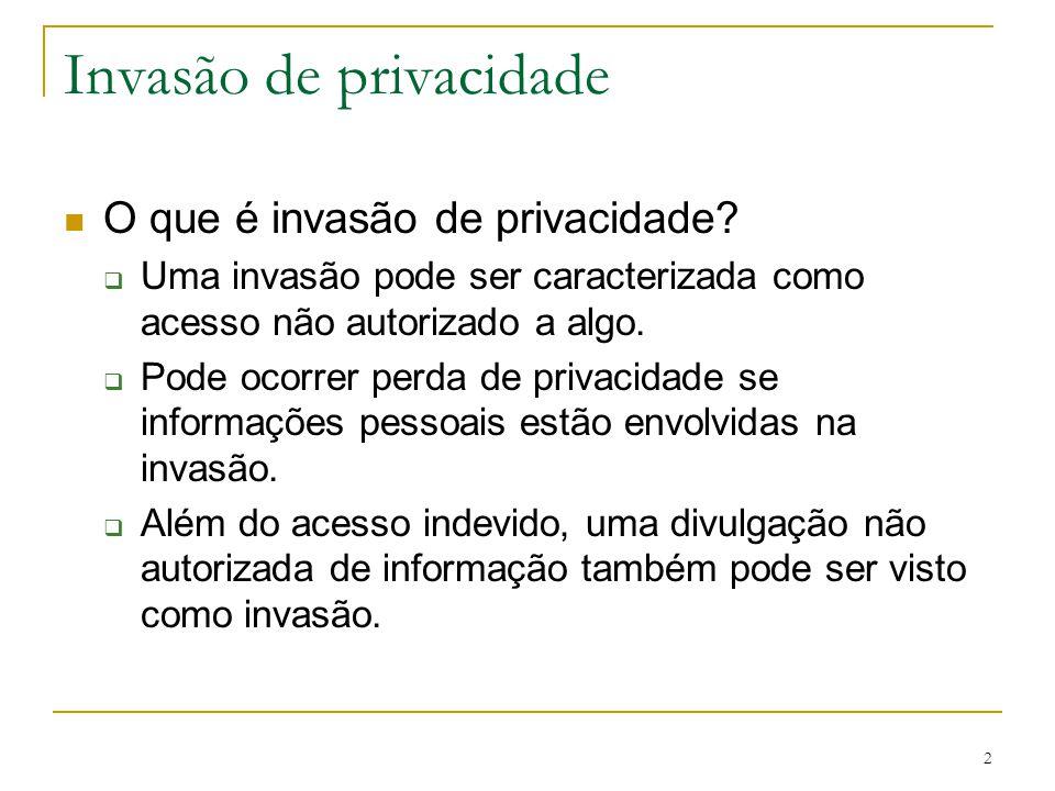 2 Invasão de privacidade O que é invasão de privacidade? Uma invasão pode ser caracterizada como acesso não autorizado a algo. Pode ocorrer perda de p