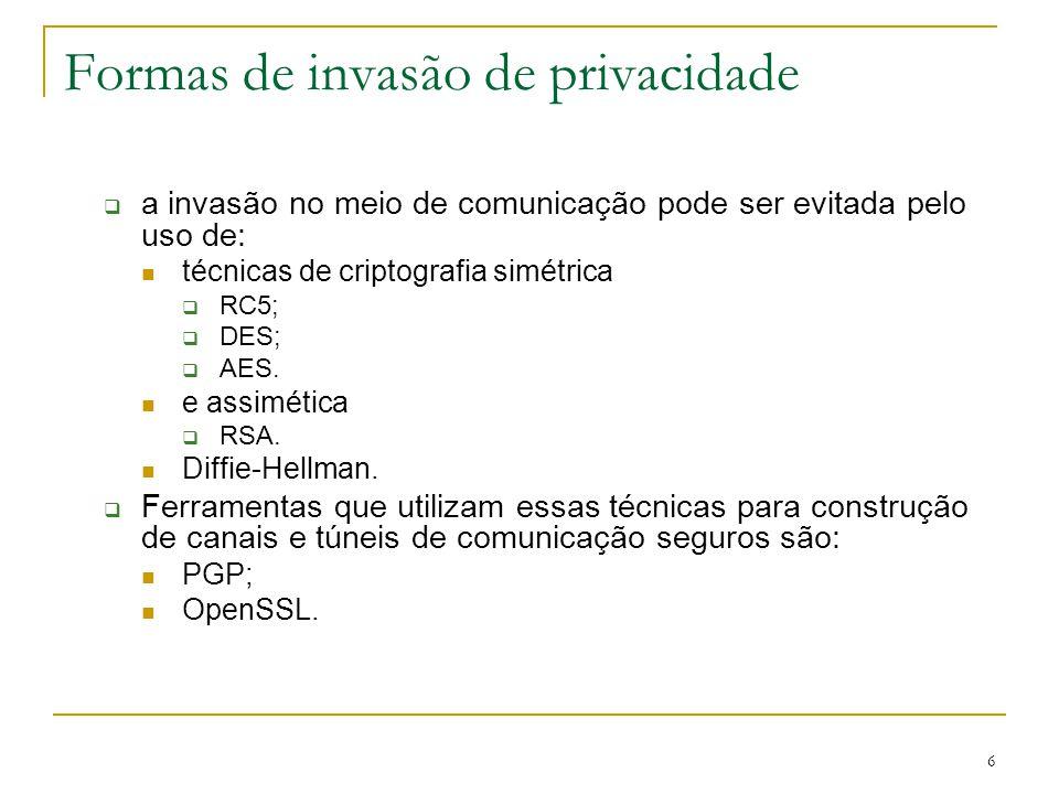 6 Formas de invasão de privacidade a invasão no meio de comunicação pode ser evitada pelo uso de: técnicas de criptografia simétrica RC5; DES; AES. e
