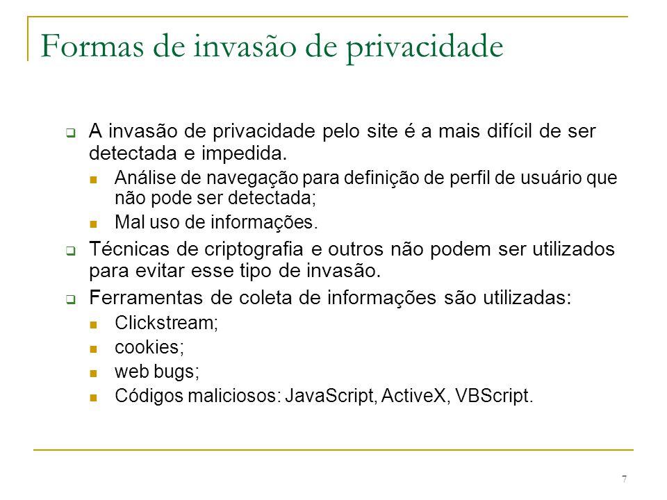 7 Formas de invasão de privacidade A invasão de privacidade pelo site é a mais difícil de ser detectada e impedida. Análise de navegação para definiçã