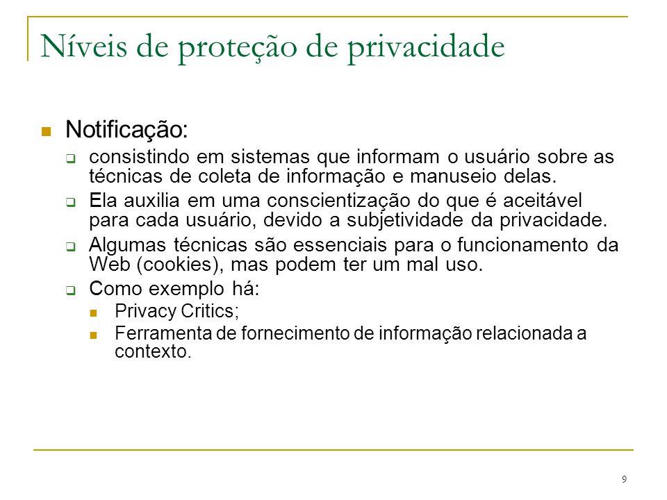 9 Níveis de proteção de privacidade Notificação: consistindo em sistemas que informam o usuário sobre as técnicas de coleta de informação e manuseio d