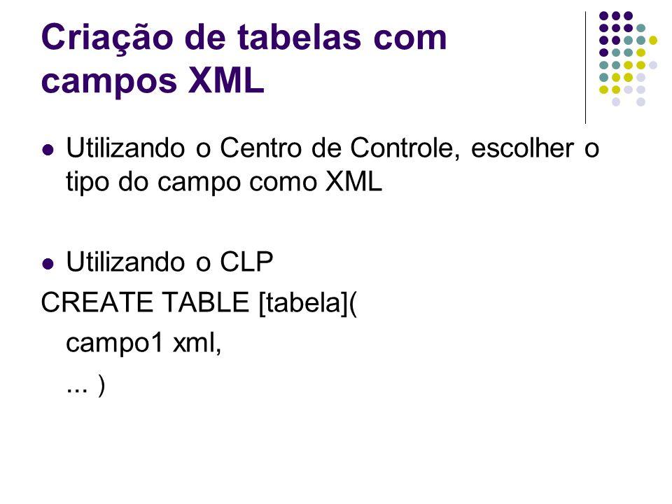 Inserção de dados XML INSERT INTO tabelaEx (campoInt, campoXML) values (1, algumDado ) IMPORT FROM arqDescricao.del OF DEL XML from pathParaArqsXML INSERT INTO tabelaEx