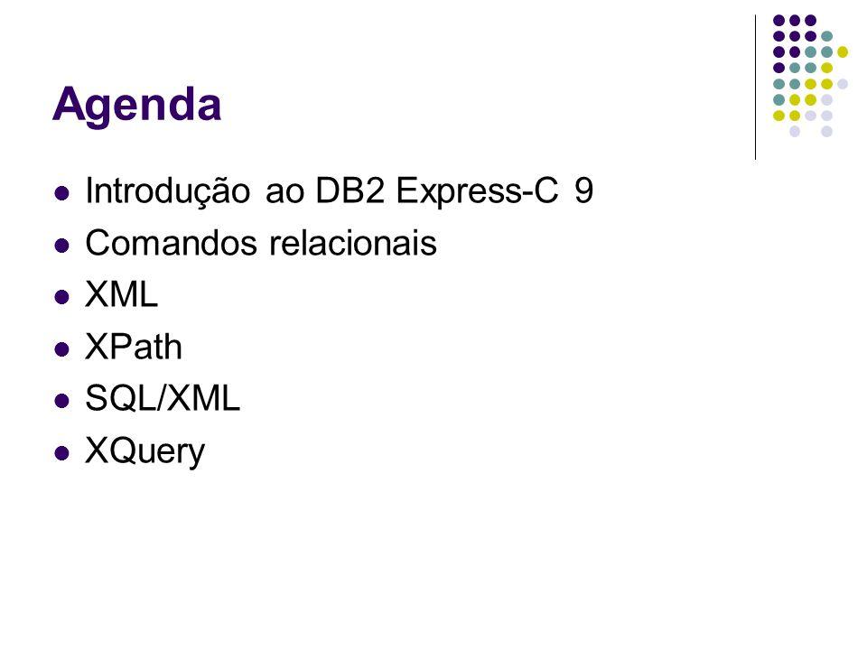 Introdução DB2 Express-C 9: banco de dados relacional/XML nativo da IBM Disponível para download em www-306.ibm.com/software/data/db2/express/download.html XML nativo: campos são dados XML, e não referências para arquivos XML.