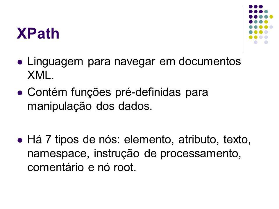 XPath Caminhos completos para especificar elementos ou atributos @ é usado para especificar um atributo text() é usado para especificar o texto dentro de um elemento nó John Doe 408 555 1212 344 Peter Pan 408 555 9918 216 XPathResultado /dept/@bldg101 /dept/employee/@id901 902 /dept/employee/name Peter Pan John Doe /dept/employee/name/text()Peter Pan John Doe