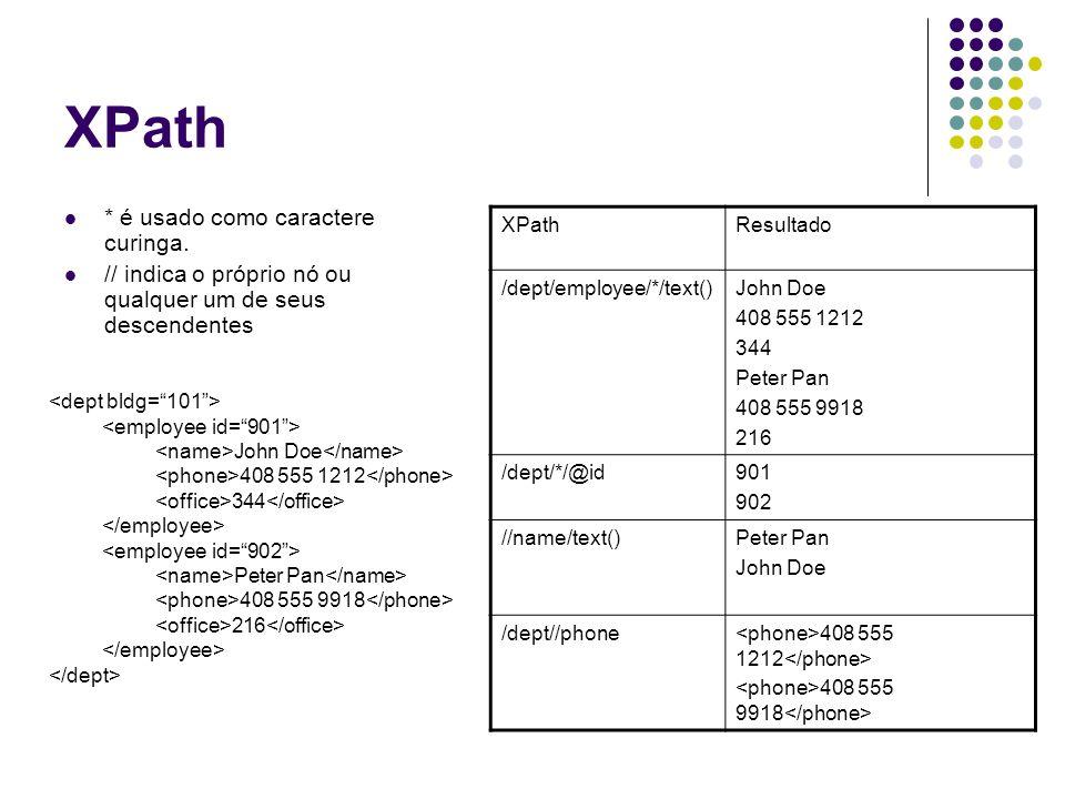 XPath Predicados são utilizados dentro de [...] [n] seleciona o n-ésimo filho do nó XPathResultado /dept/employee[@id= 902 ]/name Peter Pan /dept[@bldg= 101 ]/employee[office > 300 ]/name John Doe //employee[office= 344 OR office= 216 ]/@id901 902 /dept/employee[2]/@id902 John Doe 408 555 1212 344 Peter Pan 408 555 9918 216