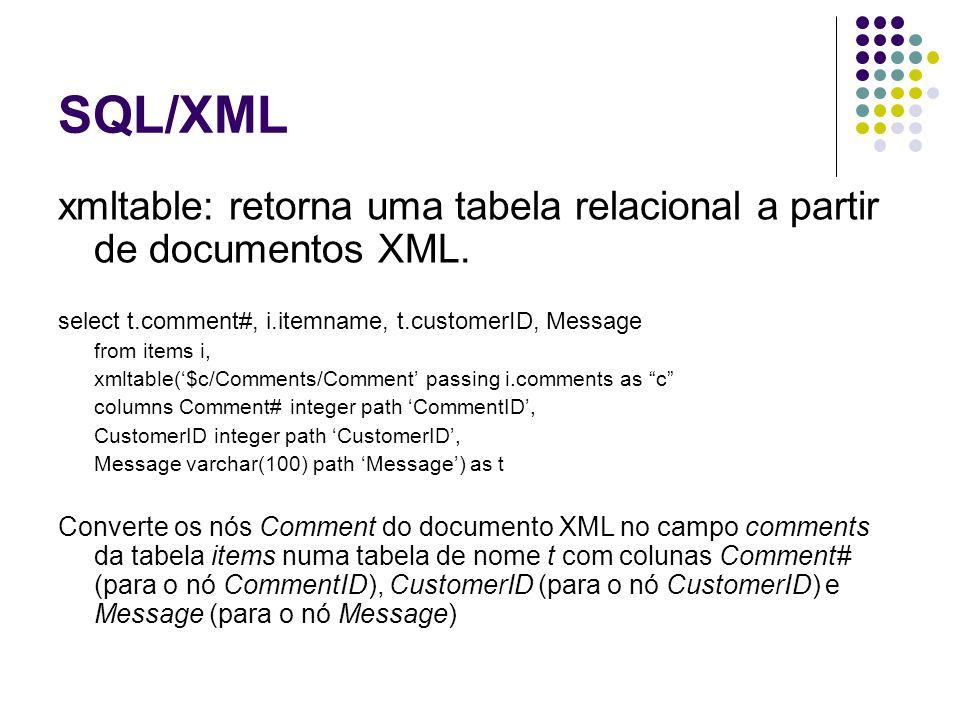 XQuery Linguagem para consultar documentos XML.Utiliza sintaxe do XPath.