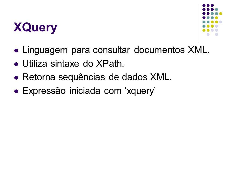 XQuery For: itera por uma sequência Let: atribui uma variável a uma sequência Where: estabelece condição Order: reordena itens Return: monta o resultado da xquery