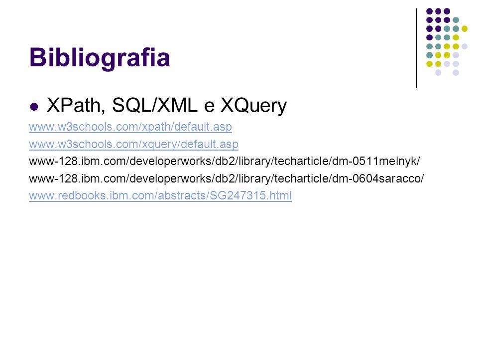 Bibliografia XPath, SQL/XML e XQuery www.w3schools.com/xpath/default.asp www.w3schools.com/xquery/default.asp www-128.ibm.com/developerworks/db2/library/techarticle/dm-0511melnyk/ www-128.ibm.com/developerworks/db2/library/techarticle/dm-0604saracco/ www.redbooks.ibm.com/abstracts/SG247315.html