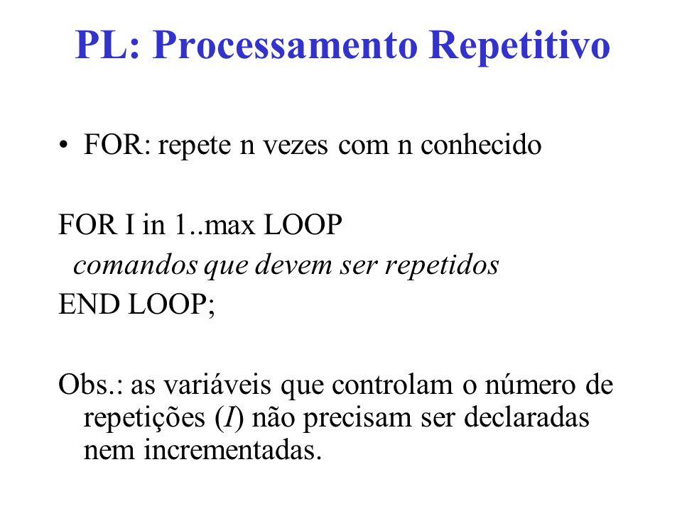 PL: Processamento Repetitivo FOR: pode ter contagem regressiva FOR I in REVERSE max..1 LOOP comandos que devem ser repetidos END LOOP;