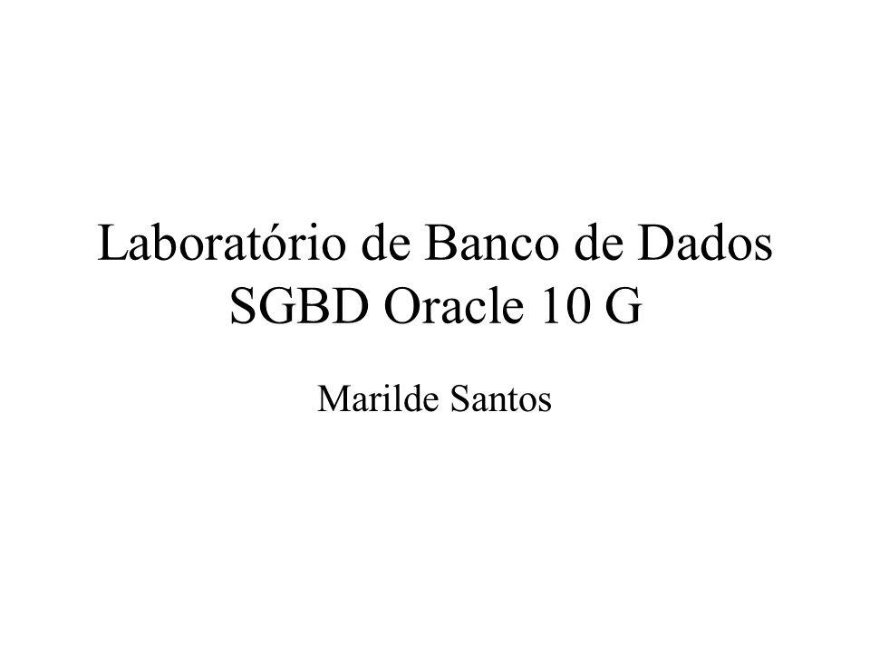 Laboratório de Banco de Dados SGBD Oracle 10 G Marilde Santos
