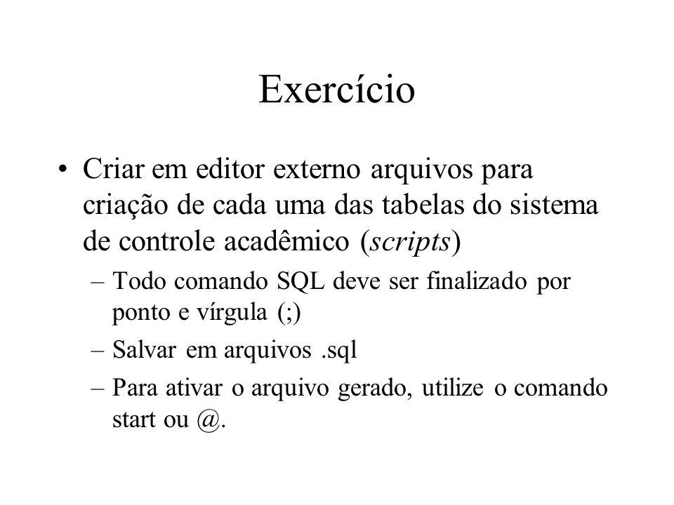 Exercício Criar em editor externo arquivos para criação de cada uma das tabelas do sistema de controle acadêmico (scripts) –Todo comando SQL deve ser