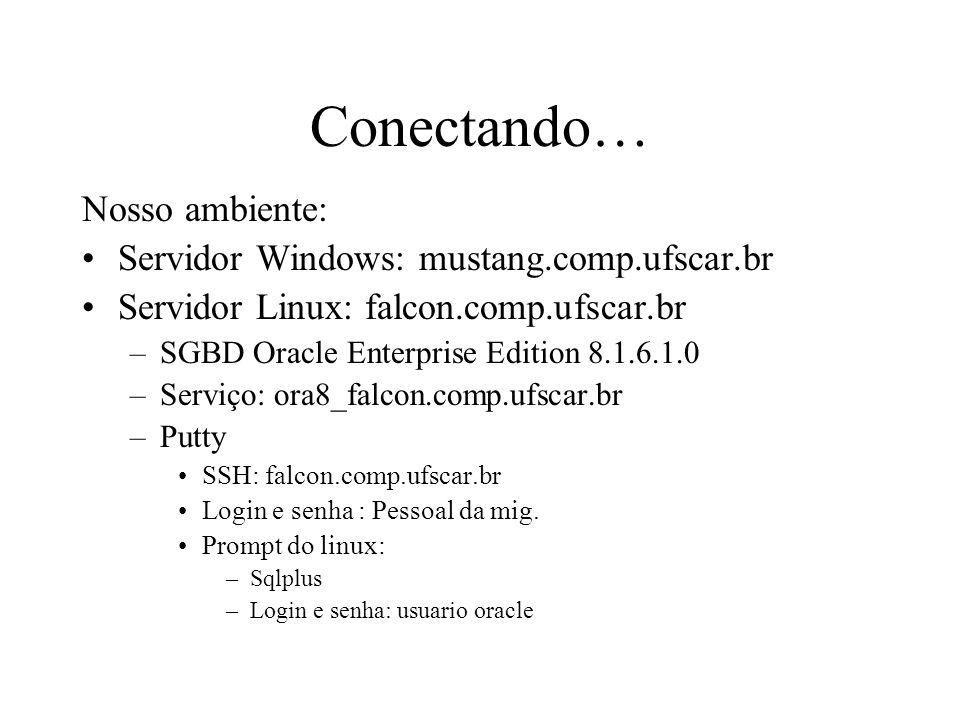 Conectando… Nosso ambiente: Servidor Windows: mustang.comp.ufscar.br Servidor Linux: falcon.comp.ufscar.br –SGBD Oracle Enterprise Edition 8.1.6.1.0 –