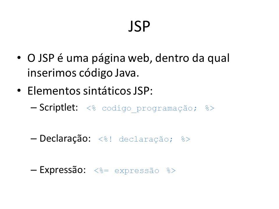JSP O JSP é uma página web, dentro da qual inserimos código Java.