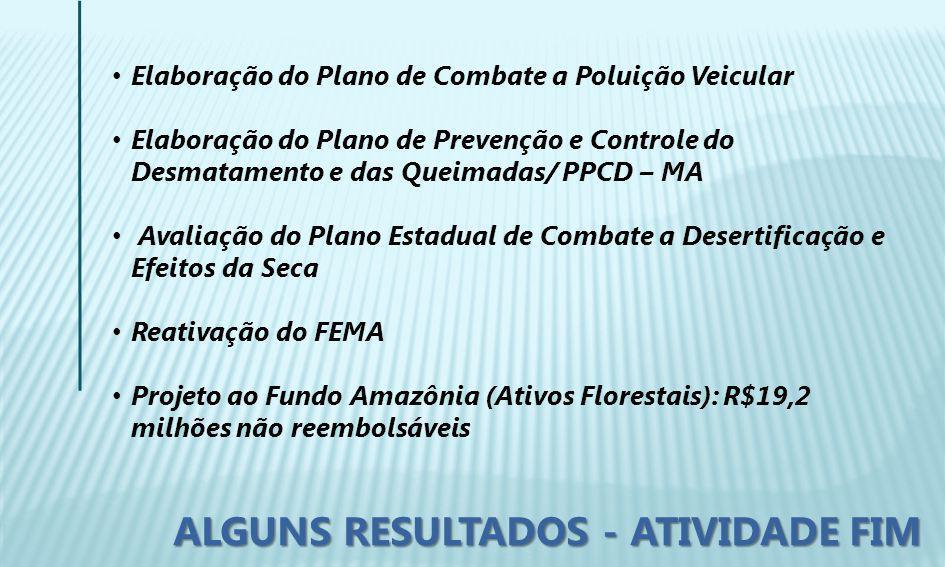 Elaboração do Plano de Combate a Poluição Veicular Elaboração do Plano de Prevenção e Controle do Desmatamento e das Queimadas/ PPCD – MA Avaliação do Plano Estadual de Combate a Desertificação e Efeitos da Seca Reativação do FEMA Projeto ao Fundo Amazônia (Ativos Florestais): R$19,2 milhões não reembolsáveis ALGUNS RESULTADOS - ATIVIDADE FIM