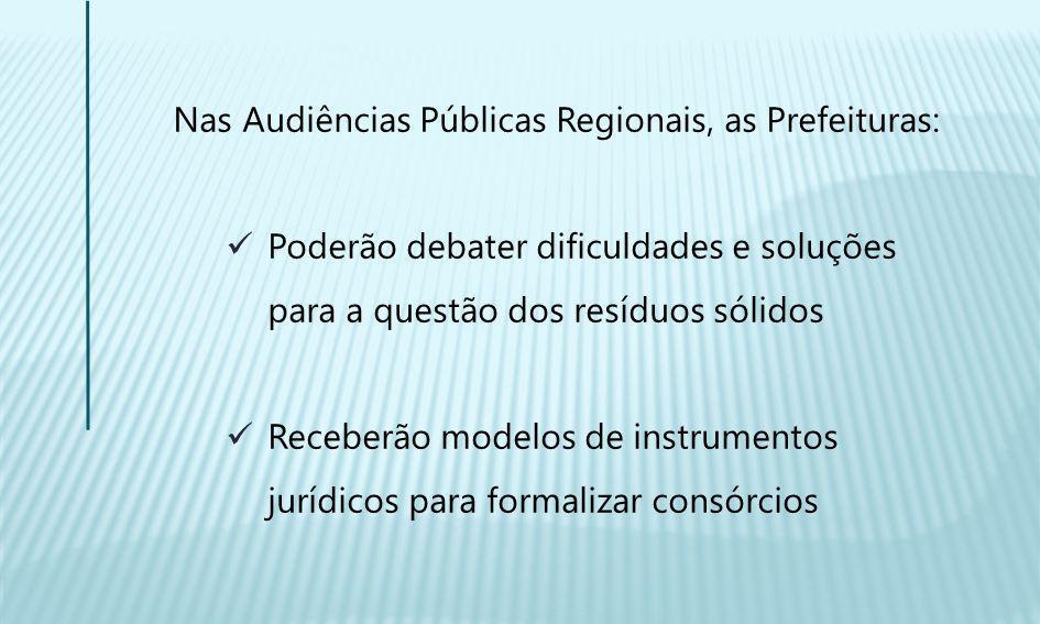 Nas Audiências Públicas Regionais, as Prefeituras: Poderão debater dificuldades e soluções para a questão dos resíduos sólidos Receberão modelos de instrumentos jurídicos para formalizar consórcios