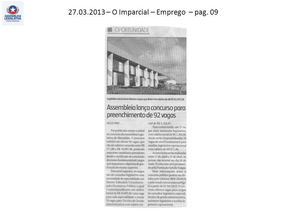 27.03.2013 – O Imparcial – Emprego – pag. 09