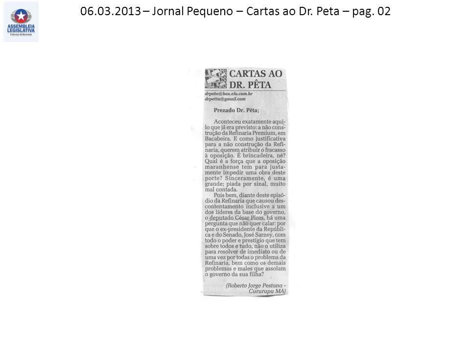 08.03.2013 – Jornal Pequeno – Editorial – pag. 02