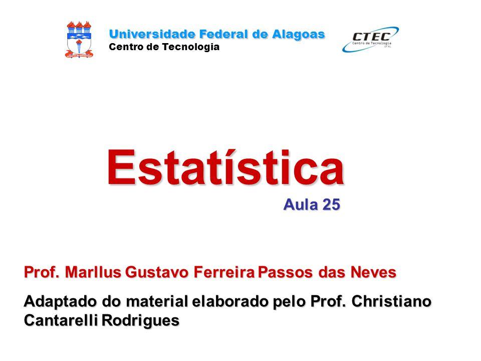 Estatística Universidade Federal de Alagoas Centro de Tecnologia Aula 25 Prof. Marllus Gustavo Ferreira Passos das Neves Adaptado do material elaborad