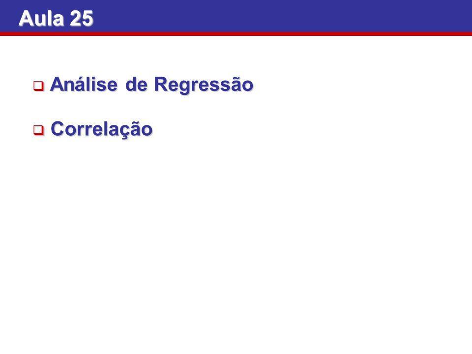 Aula 25 Análise de Regressão Análise de Regressão Correlação Correlação