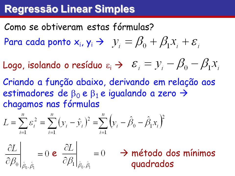 Como se obtiveram estas fórmulas? Logo, isolando o resíduo i Regressão Linear Simples Para cada ponto x i, y i Criando a função abaixo, derivando em r