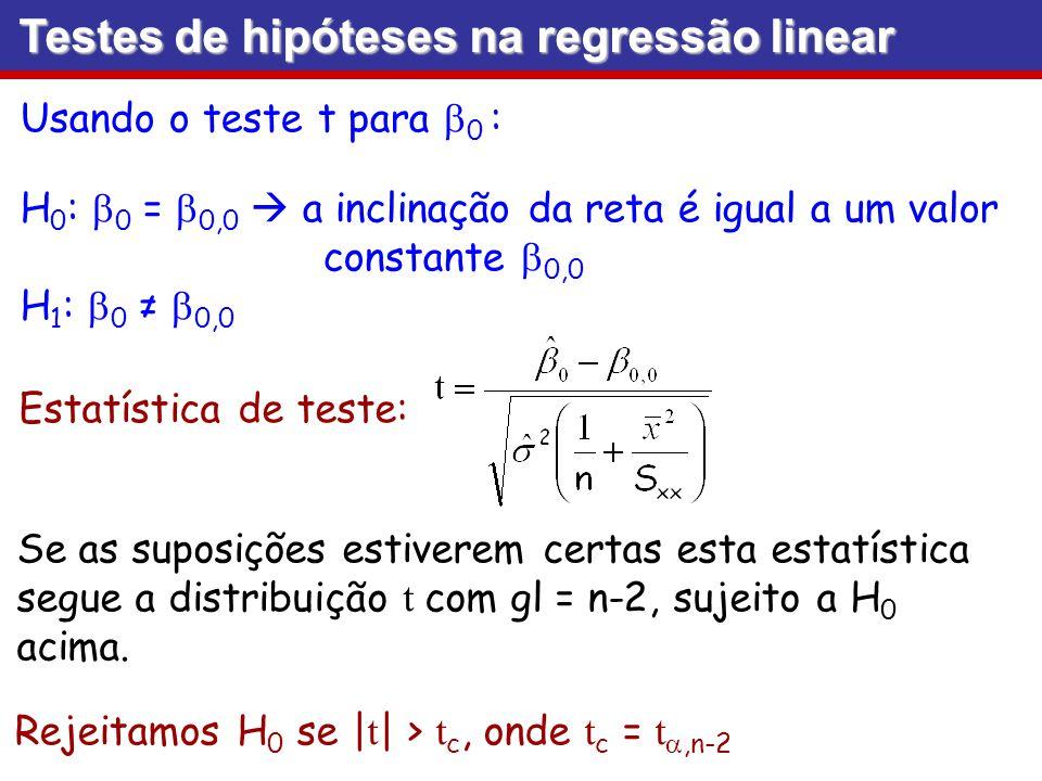 Testes de hipóteses na regressão linear Usando o teste t para 0 : H 0 : 0 = 0,0 a inclinação da reta é igual a um valor constante 0,0 H 1 : 0 0,0 Esta