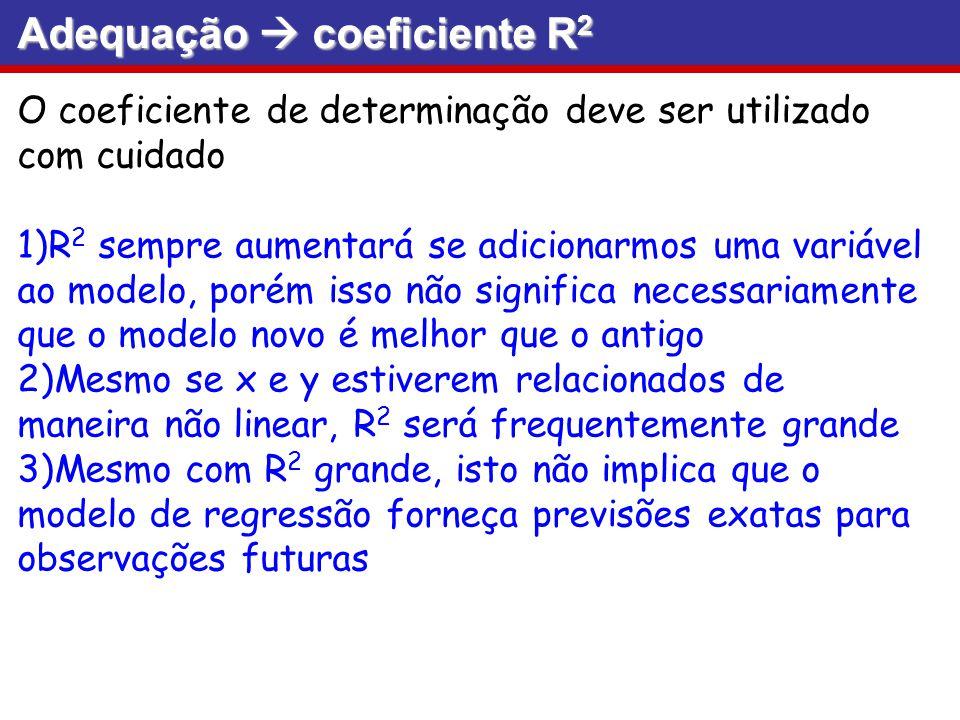 Adequação coeficiente R 2 O coeficiente de determinação deve ser utilizado com cuidado 1)R 2 sempre aumentará se adicionarmos uma variável ao modelo,