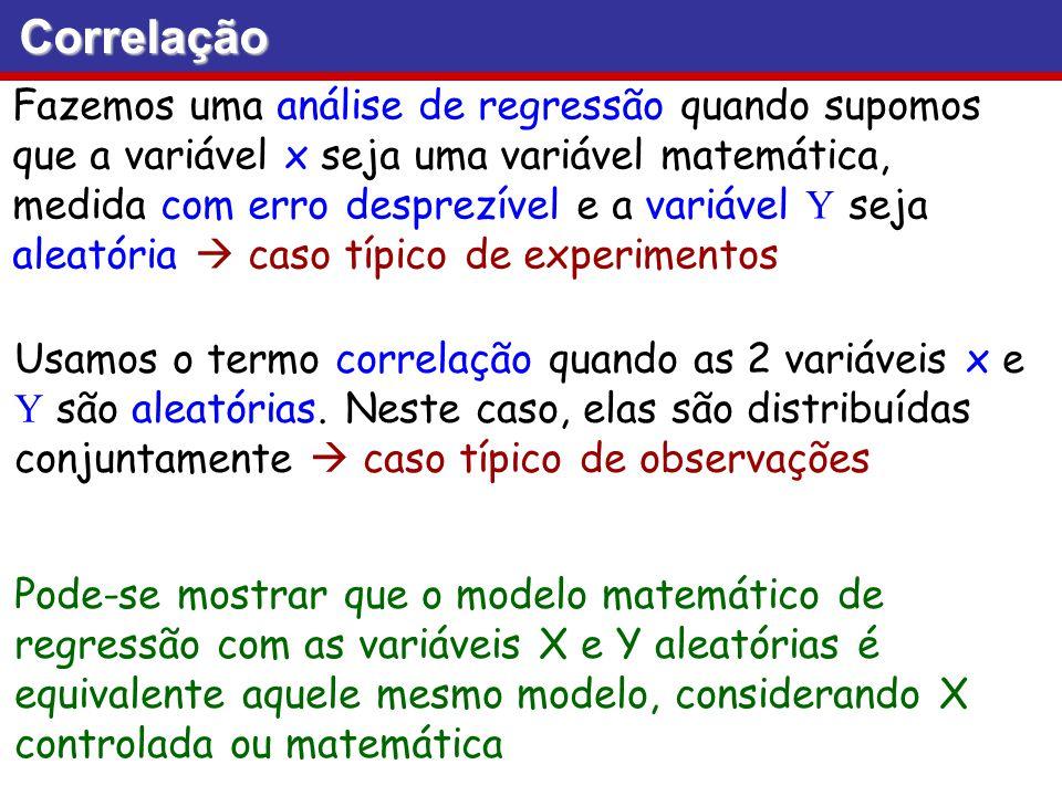 Correlação Fazemos uma análise de regressão quando supomos que a variável x seja uma variável matemática, medida com erro desprezível e a variável Y s