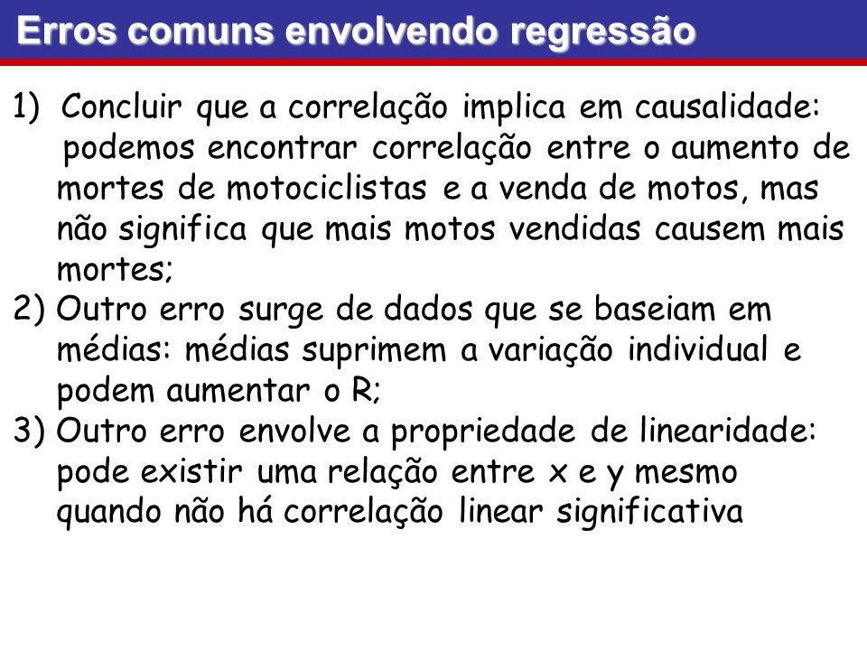 Erros comuns envolvendo regressão 1)Concluir que a correlação implica em causalidade: podemos encontrar correlação entre o aumento de mortes de motoci