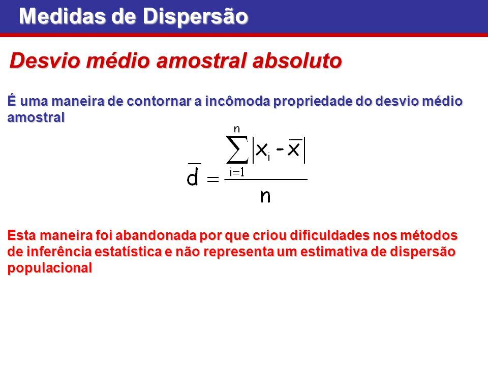 Medidas de Dispersão Desvio médio amostral absoluto É uma maneira de contornar a incômoda propriedade do desvio médio amostral Esta maneira foi abando