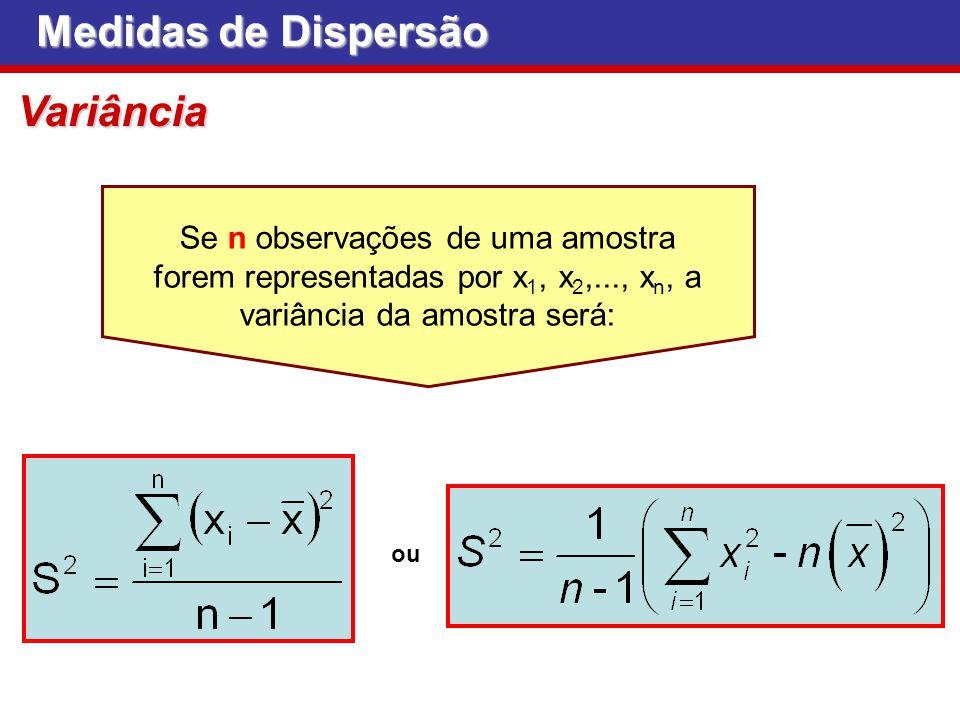 Se n observações de uma amostra forem representadas por x 1, x 2,..., x n, a variância da amostra será: Medidas de Dispersão Variância ou