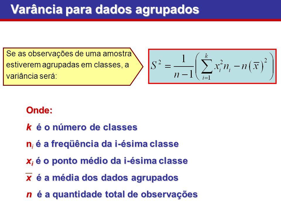 Varância para dados agrupados Se as observações de uma amostra estiverem agrupadas em classes, a variância será:Onde: k é o número de classes n i é a