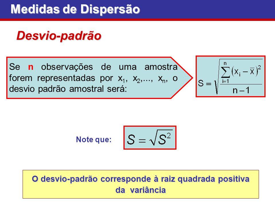 Medidas de Dispersão Desvio-padrão Note que: Se n observações de uma amostra forem representadas por x 1, x 2,..., x n, o desvio padrão amostral será: