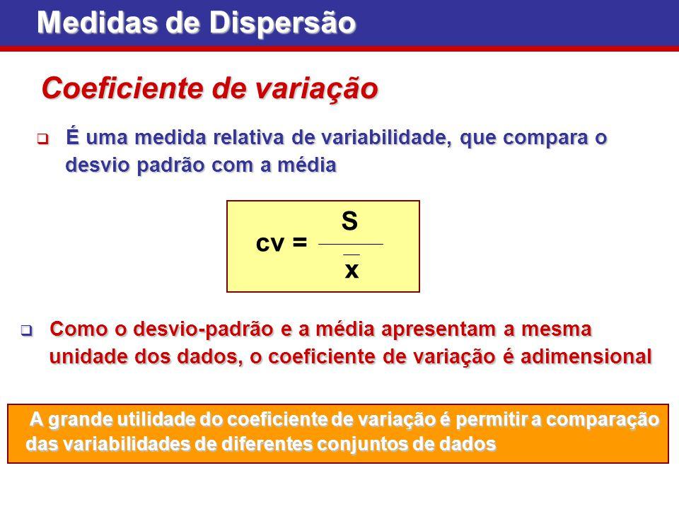 Medidas de Dispersão Coeficiente de variação É uma medida relativa de variabilidade, que compara o É uma medida relativa de variabilidade, que compara