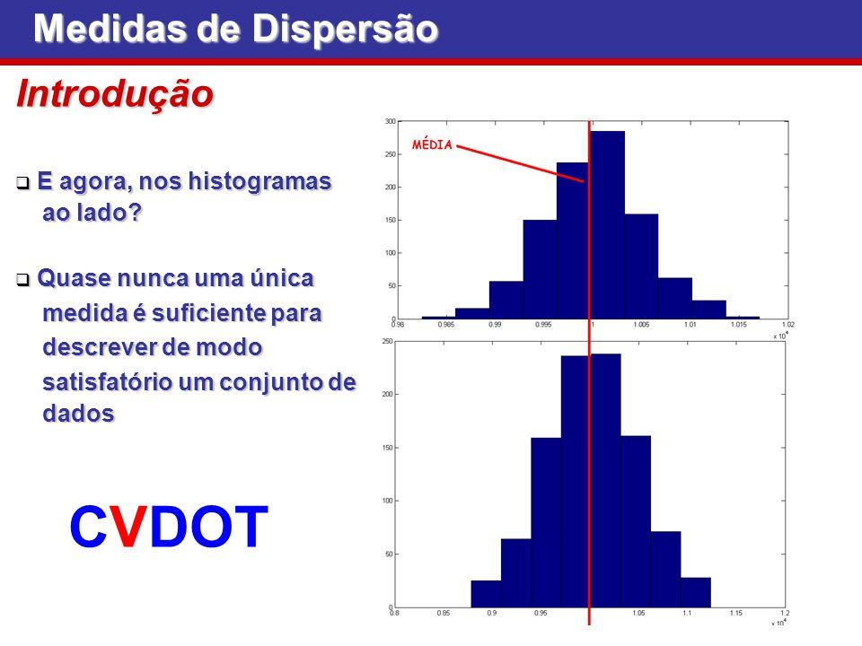 Medidas de Dispersão Coeficiente de variação É uma medida relativa de variabilidade, que compara o É uma medida relativa de variabilidade, que compara o desvio padrão com a média desvio padrão com a média cv = S x Como o desvio-padrão e a média apresentam a mesma Como o desvio-padrão e a média apresentam a mesma unidade dos dados, o coeficiente de variação é adimensional unidade dos dados, o coeficiente de variação é adimensional A grande utilidade do coeficiente de variação é permitir a comparação das variabilidades de diferentes conjuntos de dados A grande utilidade do coeficiente de variação é permitir a comparação das variabilidades de diferentes conjuntos de dados