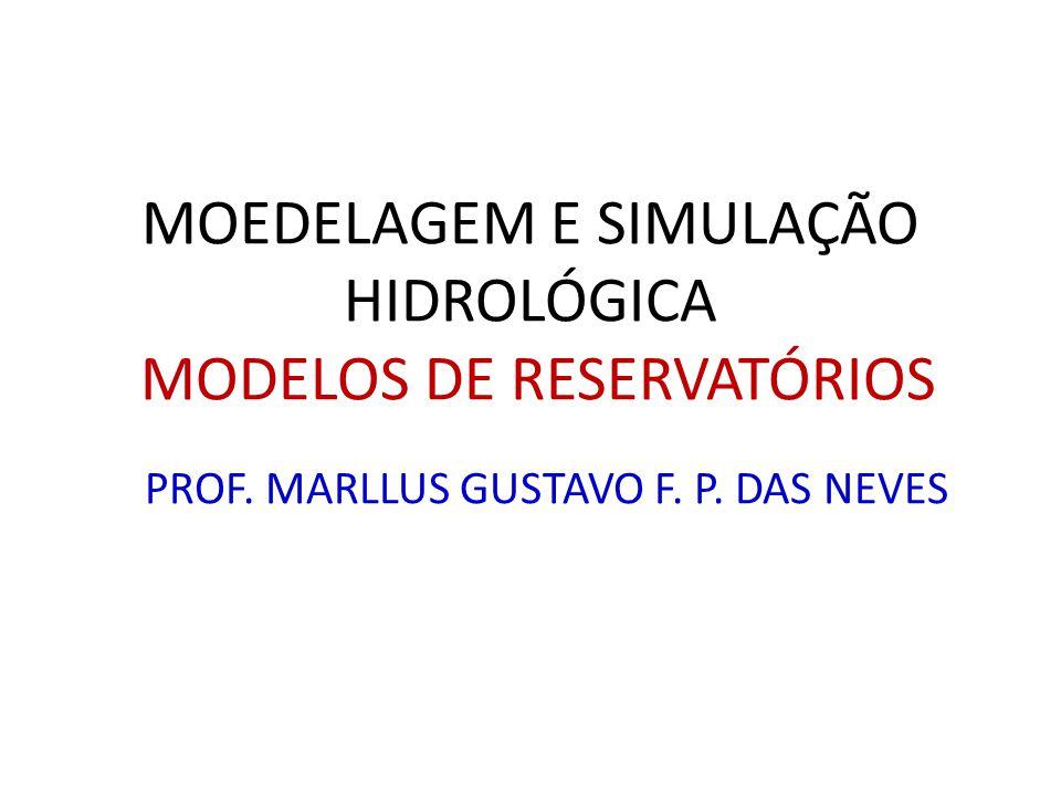 PROF. MARLLUS GUSTAVO F. P. DAS NEVES MOEDELAGEM E SIMULAÇÃO HIDROLÓGICA MODELOS DE RESERVATÓRIOS