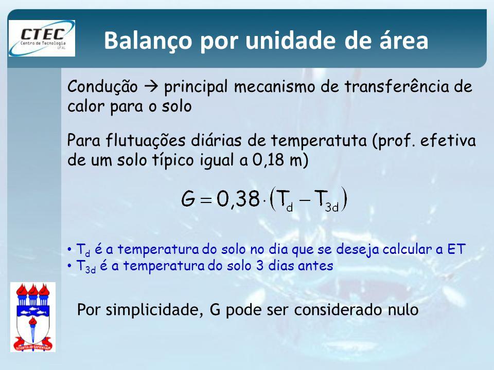 Por simplicidade, G pode ser considerado nulo T d é a temperatura do solo no dia que se deseja calcular a ET T 3d é a temperatura do solo 3 dias antes