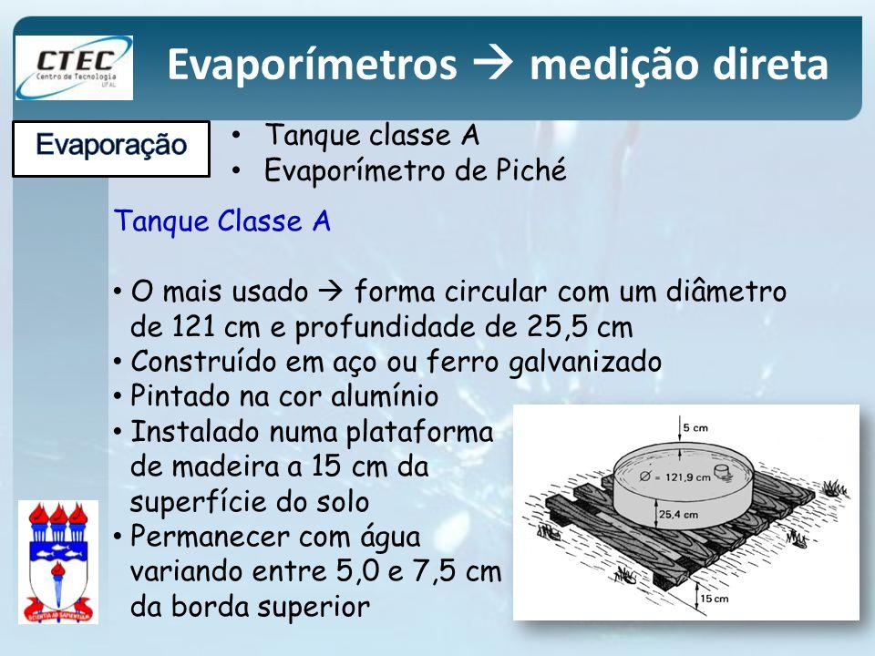 Tanque classe A Evaporímetro de Piché Evaporímetros medição direta Tanque Classe A O mais usado forma circular com um diâmetro de 121 cm e profundidad