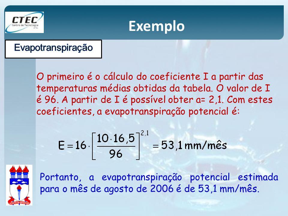 Exemplo O primeiro é o cálculo do coeficiente I a partir das temperaturas médias obtidas da tabela. O valor de I é 96. A partir de I é possível obter