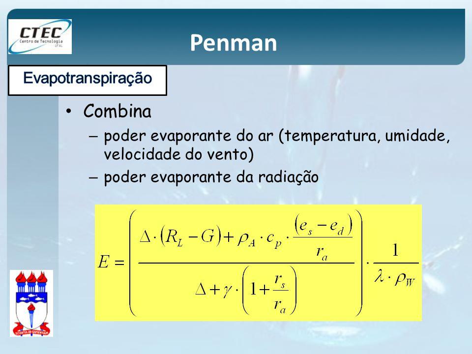 Combina – poder evaporante do ar (temperatura, umidade, velocidade do vento) – poder evaporante da radiação Penman