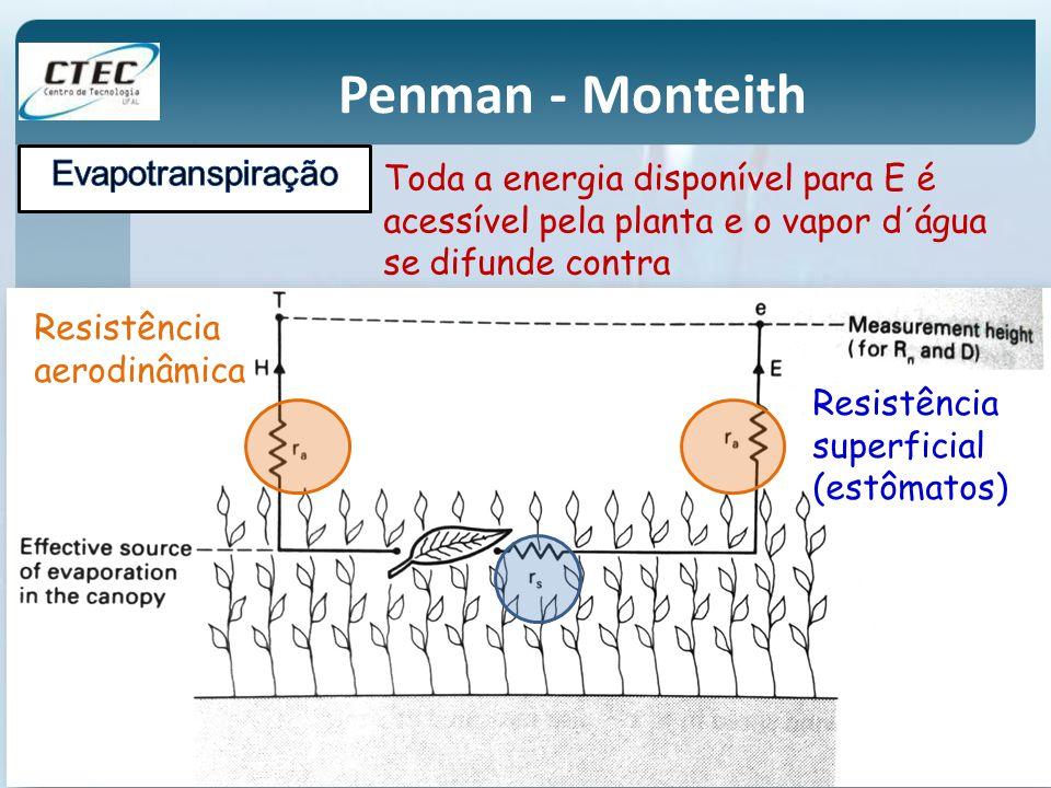 Penman - Monteith Toda a energia disponível para E é acessível pela planta e o vapor d´água se difunde contra Resistência superficial (estômatos) Resi