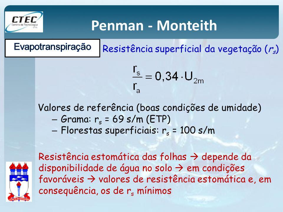 Penman - Monteith Valores de referência (boas condições de umidade) – Grama: r s = 69 s/m (ETP) – Florestas superficiais: r s = 100 s/m Resistência es