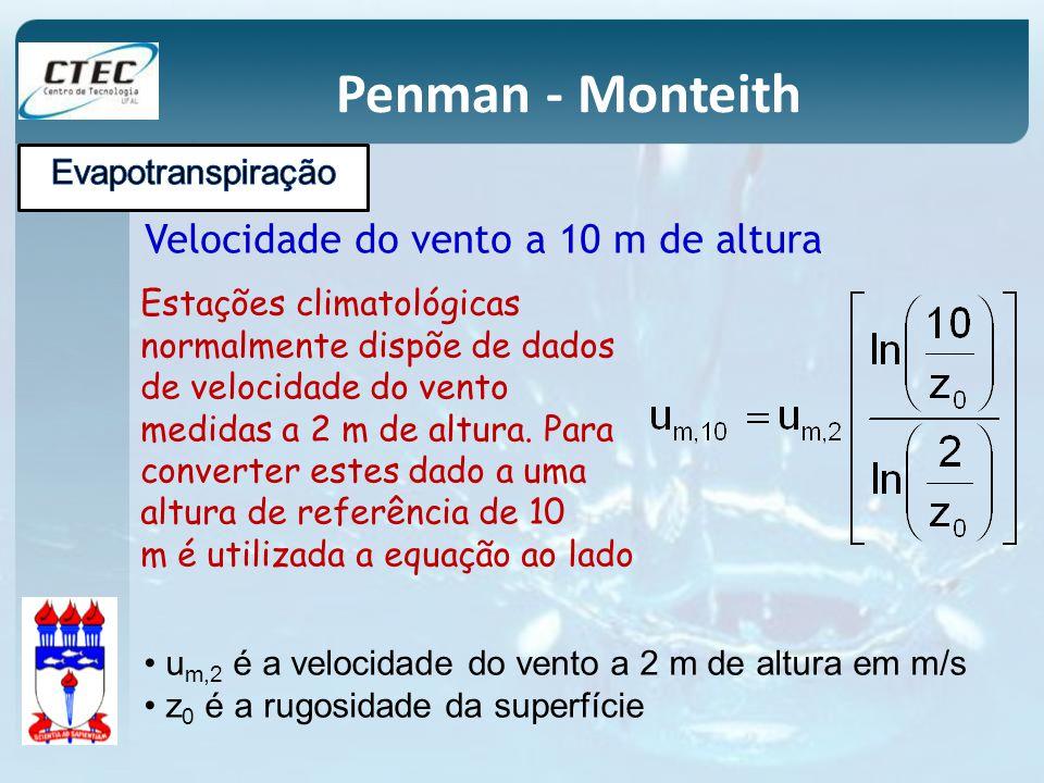 Penman - Monteith Velocidade do vento a 10 m de altura u m,2 é a velocidade do vento a 2 m de altura em m/s z 0 é a rugosidade da superfície Estações