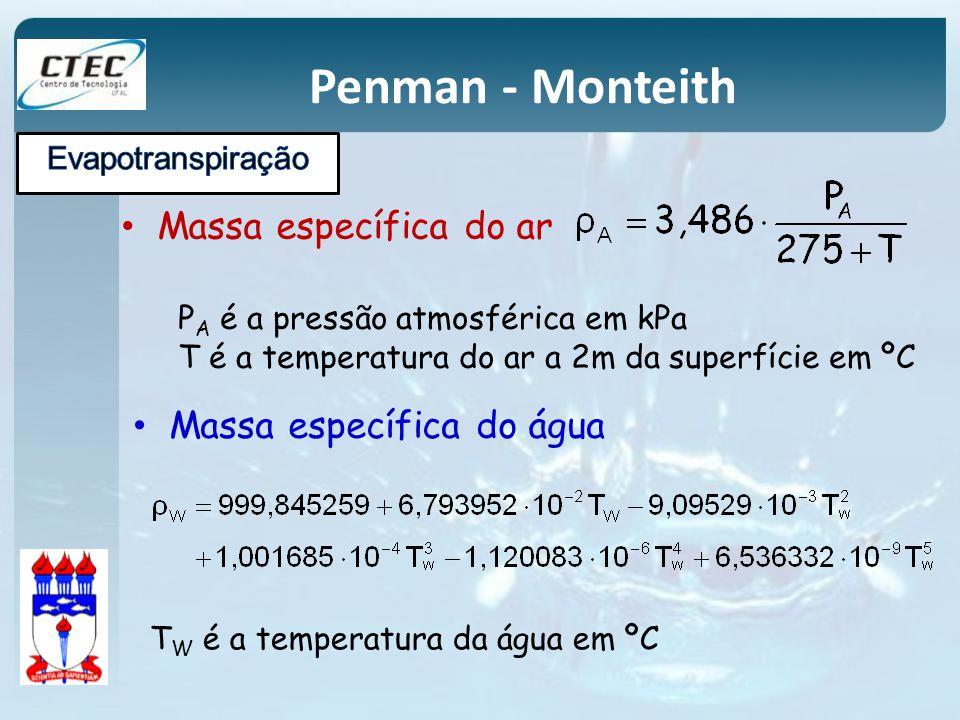 Massa específica do ar P A é a pressão atmosférica em kPa T é a temperatura do ar a 2m da superfície em ºC Massa específica do água T W é a temperatur