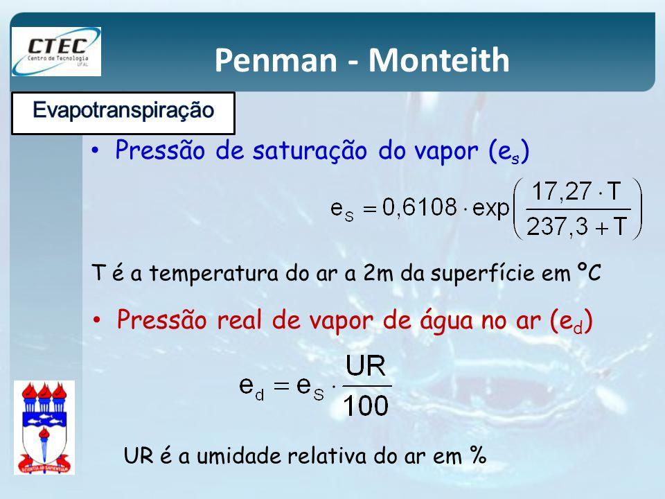 Penman - Monteith Pressão de saturação do vapor (e s ) T é a temperatura do ar a 2m da superfície em ºC Pressão real de vapor de água no ar (e d ) UR